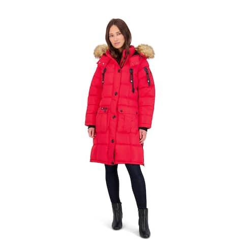 Canada Weather Gear Puffer Coat for Women- Long Faux Fur Insulated Winter Jacket