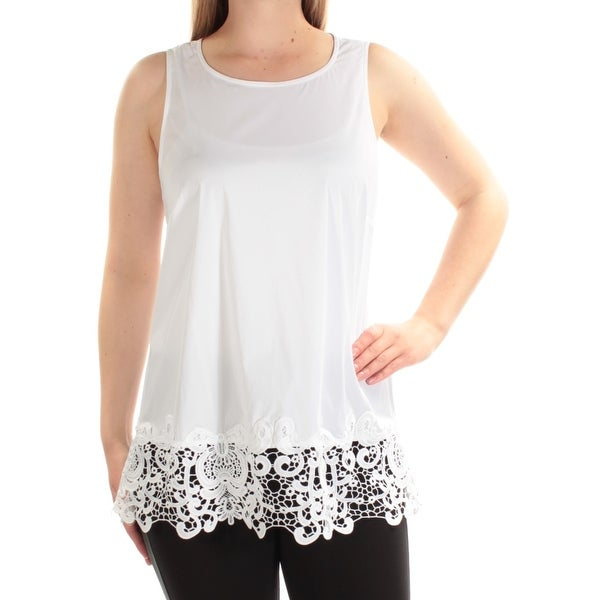 8a99b2b55e077 Shop ALFANI Womens White Lace Sleeveless Scoop Neck Top Size  8 - On Sale -  Free Shipping On Orders Over  45 - Overstock - 23450884