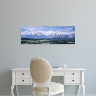 Easy Art Prints Panoramic Image 'Landscape with mountains, Jackson Hole, Grand Teton National Park, Wyoming' Canvas Art