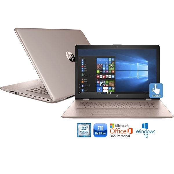 """HP 17-bs013cy Core i3-7100 2TB HDD 17.3"""" HD+ Touch Screen MS Office 365 Laptop - rose gold"""