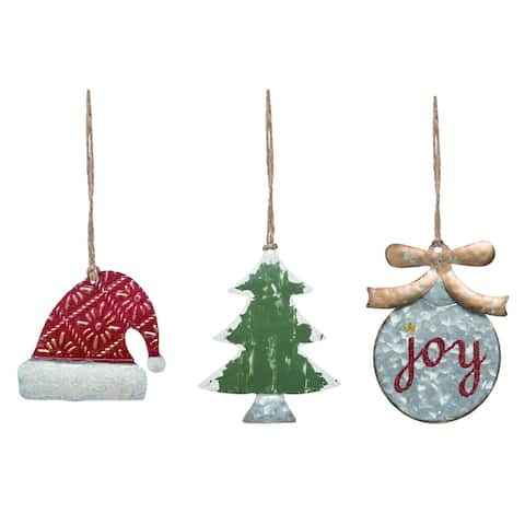 """Set of 3 Red and Green Christmas Icon Hanging Ornaments 6"""""""