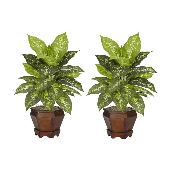 Nearly Natural Dieffenbachia with Wood Vase Silk Plant - Set of 2 Variegated