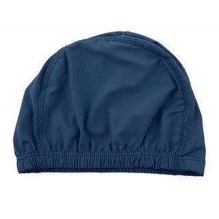 Dome Shaped Water Resistant Stretchable Swimming Cap Bathing Hat Navy Blue