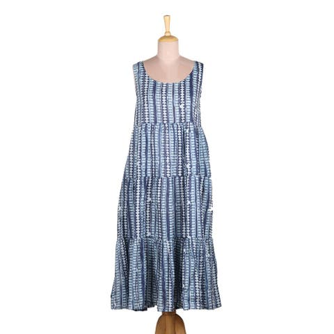 NOVICA Indian Indigo Cotton sundress