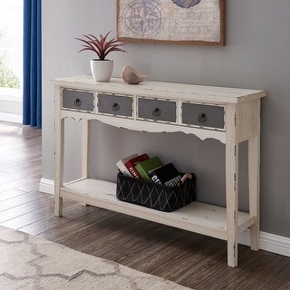 BELLEZE Distressed Wood 2-Drawer Traditional Entryway Console Table - standard