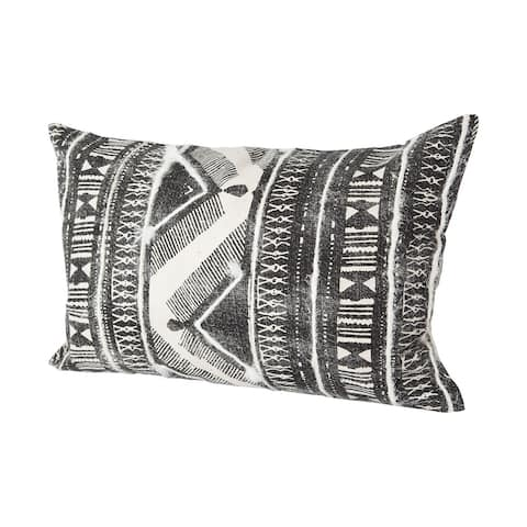 Mercana Beveridge III 13 x 21 Gray Embroidered White Pattern Decorative Pillow Cover