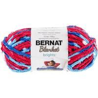 Bernat Blanket Brights Yarn - Red, White & Boom Variegated