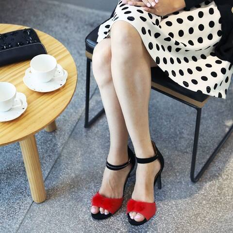 Women Color Block Pom Pom Decor Ankle Strap Stiletto Heels