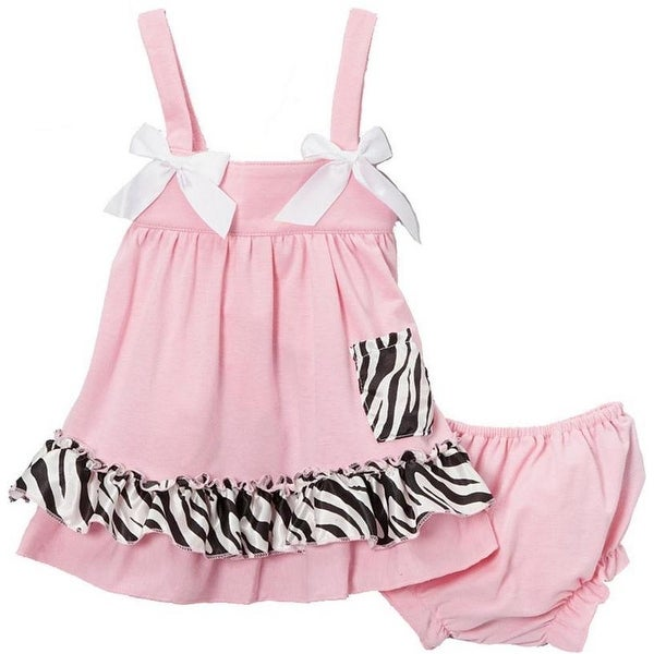 c0150db59fd6 Shop Wenchoice Baby Girls Pink Zebra Bow Ruffles Swing Top Set - Free  Shipping On Orders Over  45 - Overstock - 20768137