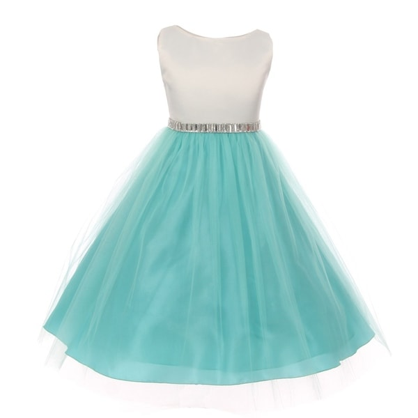 8b20c3846 Shop Big Girls Mint Shiny Sleeveless Tulle Overlay Special Occasion ...