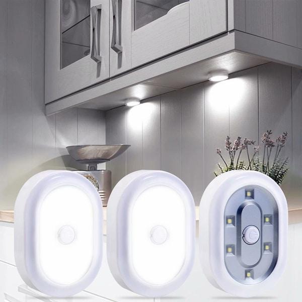 3//6Pcs LED Under Cabinet Light Puck Home Kitchen Fixture Lamp Warm Cool White