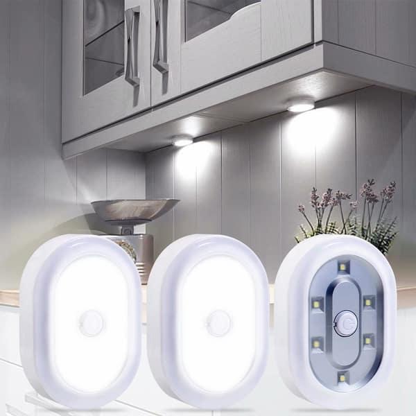 3pcs 6 Led Puck Lights Wireless Remote Control Daylight Overstock 29180016