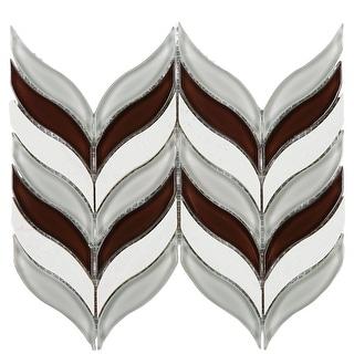 TileGen. Leaf Random Sized Marble Mix Glass Mosaic Tile in Wine Red/Beige/White Wall Tile (10 sheets/7sqft.)