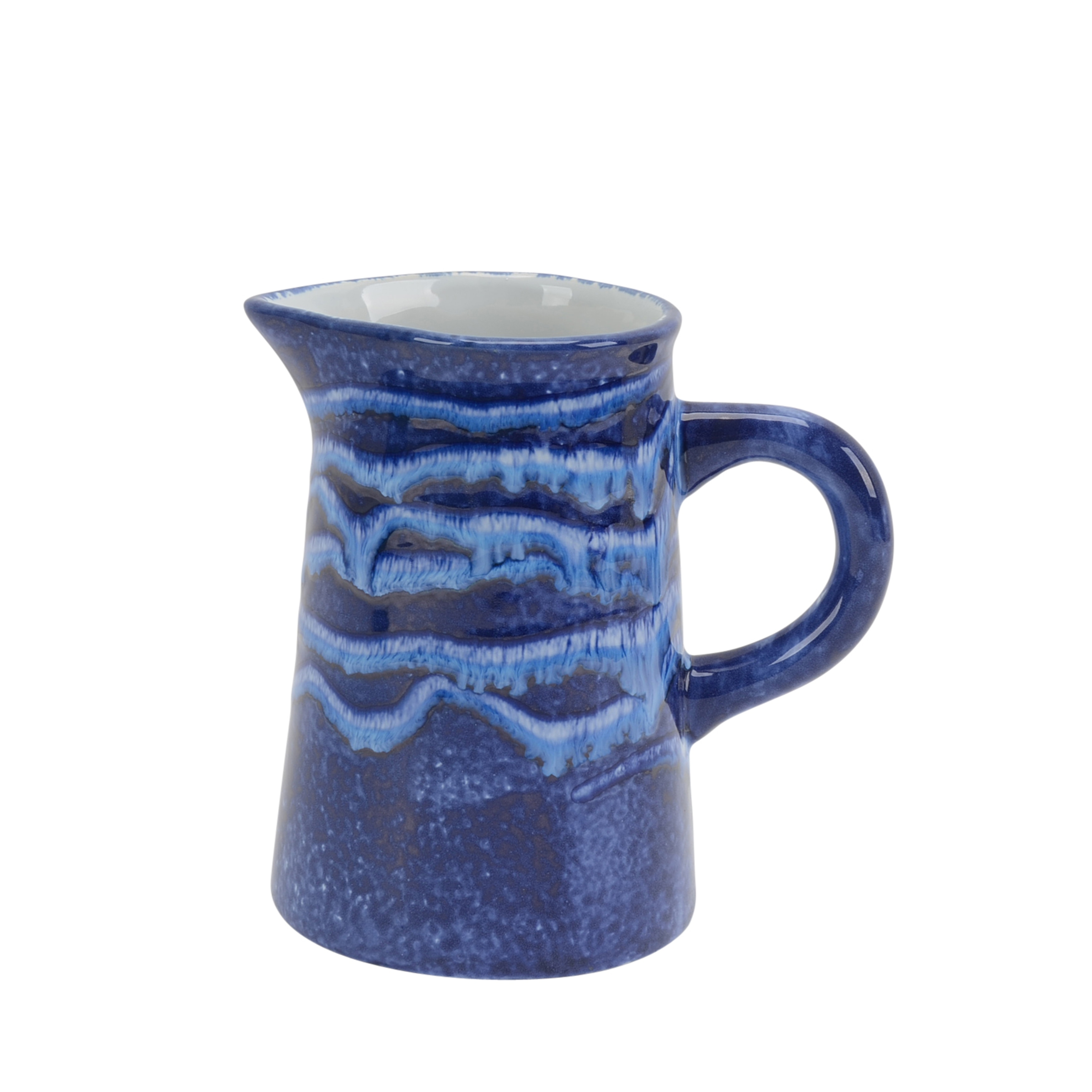 Traditional Ceramic Pitcher with Handle, Blue
