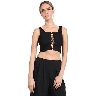 NE PEOPLE Womens Sleeveless Open Lace Up Crop Knit Top-NEWT360