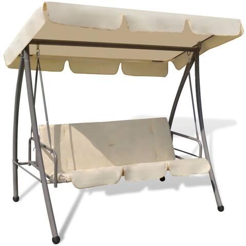 vidaXL Patio Outdoor Swing Canopy Sand White Hammock Seat Bed Garden Porch