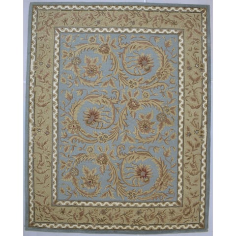 """One of a Kind Hand-Tufted Persian 8' x 10' Oriental Wool Blue Rug - 7'10""""x9'11"""""""