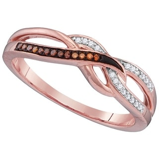 10kt Rose Gold Womens Round Red Colored Diamond Woven Band Fashion Ring 1/12 Cttw - White