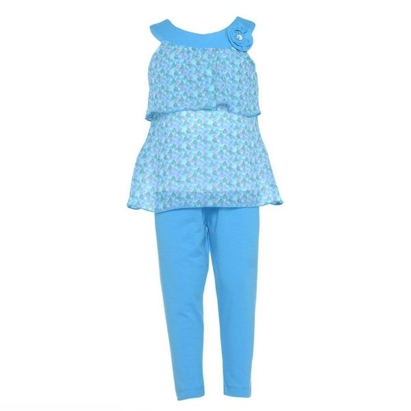 Girls 12M Cute Blue Heart 2pc Sleeveless Top Leggings Spring Outfit