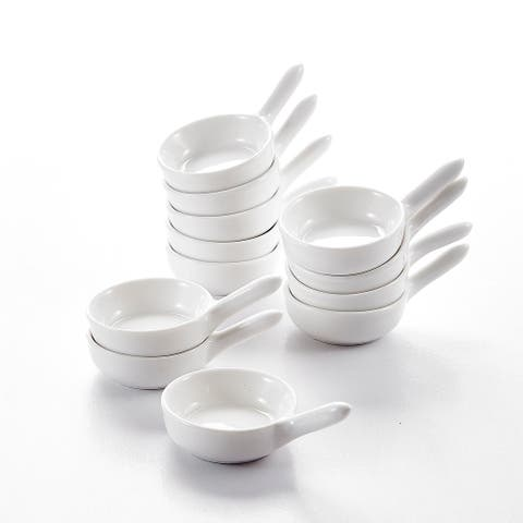 3.75'' White Porcelain Ramekins Souffle Dishes Set of 12