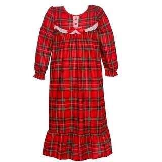 Laura Dare Girls Red Green Plaid Ruffle Hem Long Sleeve Nightgown