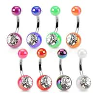 Metallic Coated Acrylic Ball with Single Gemstone 316L Surgical Steel Navel Belly Button Ring