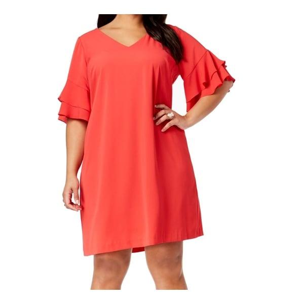 Jessica Howard Red Womens Size 20W Plus Ruffle Sleeve Sheath Dress