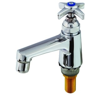 "T and S Brass B-0710  Sill Faucet with 1/2"" NPS Male Shank, Cross Handle and 2.2 GPM Non-Splash Aerator - Polished Chrome"