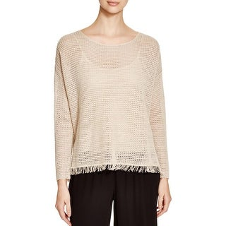 Eileen Fisher Womens Pullover Sweater Linen Fringe