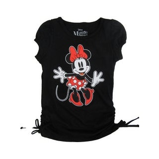 Disney Little Girls Black Red Minnie Mouse Print Side Ties T-Shirt