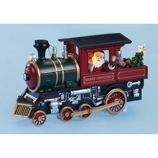 """10"""" Amusements Lighted Animated Musical Merry Christmas Train Engine with Santa"""