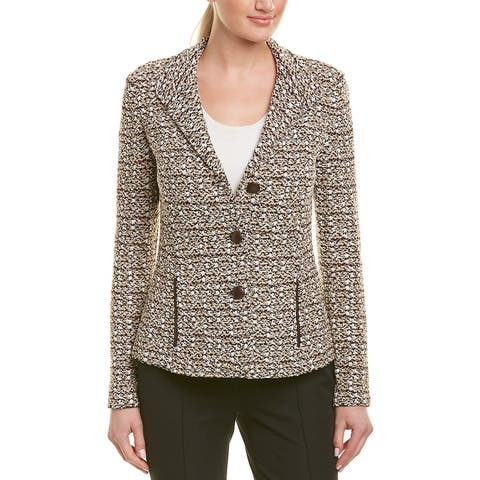 St. John Leather-Trim Wool-Blend Blazer