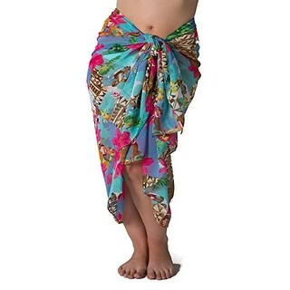 Plus Size Swimsuit Sarong Cover up in Hawaiian Luau Print