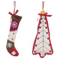 """Set of 2 Vibrantly Colored Snowflake Themed Christmas Tree and Stocking Ornaments 13"""" - multi"""