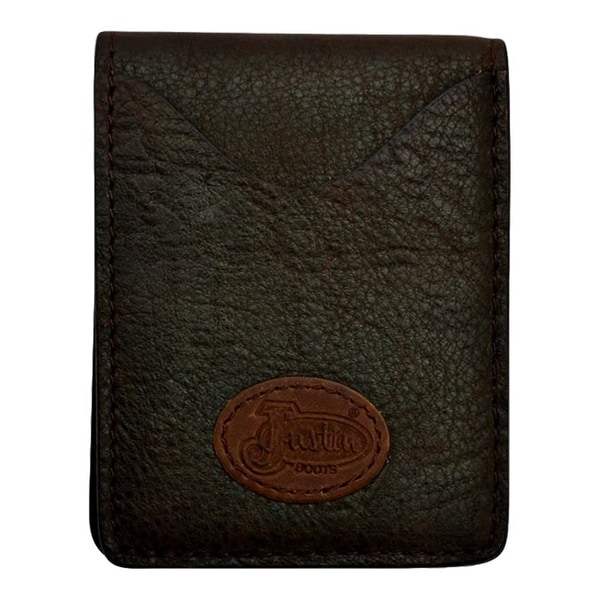 "Justin Western Wallet Mens Basic Elephant Print Chocolate Brown - 3"" x 3 7/8"""