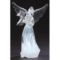 "10.5"" LED Lighted Angel with Bethlehem Star Christmas Tabletop Figure - CLEAR"