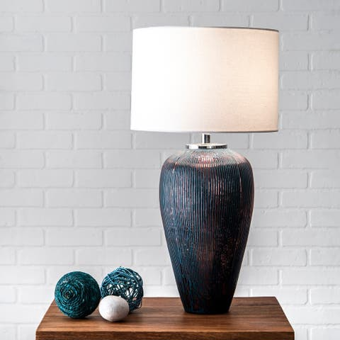 "nuLOOM 18"" Georgina Fluted Glass Canvas Shade Table Lamp"