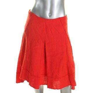 Elie Tahari Womens Flare Skirt Linen Pleated