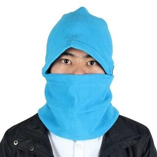 Outdoor Thermal Fleece Detachable Balaclava Hood Face Neck Mask Helmet Cap Blue