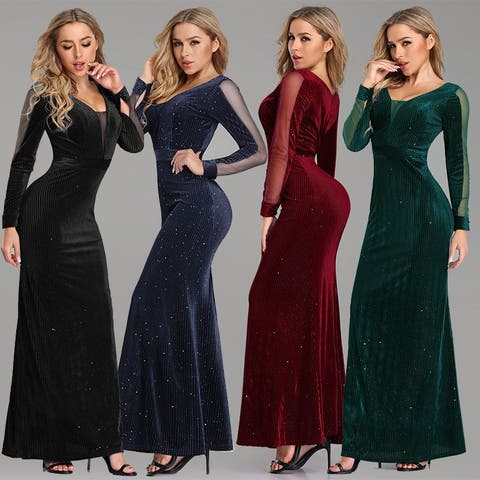 Ever-Pretty Women's Velvet Long Sleeve Evening Prom Party Dress 07394