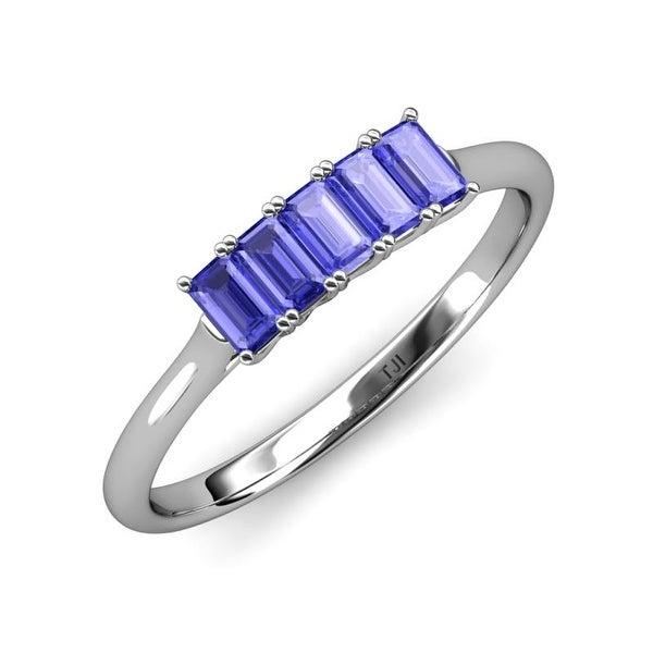 TriJewels Emerald Cut Tanzanite 1 1/2ctw 5 Stone Wedding Band 14K Gold. Opens flyout.