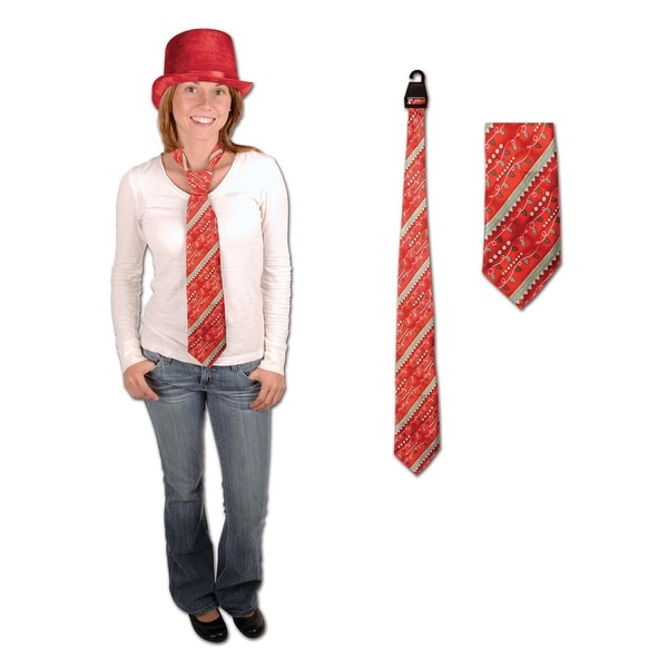 Club Pack of 12 Red Christmas Themed Holiday Light Neckties 51.5""