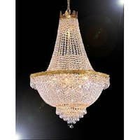French Empire Crystal Chandelier Lighting H30 x W24 - Gold