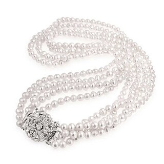 Bling Jewelry Floral CZ Bridal Pendant Rhodium Plated Freshwater Pearl Necklace 16 Inches