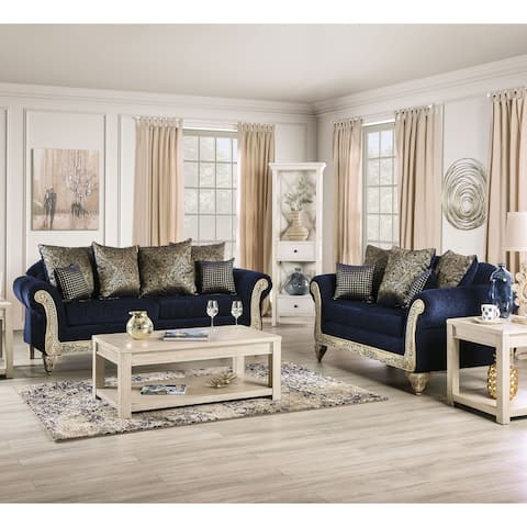 Furniture of America Merzer Traditional Blue Chenille 2-piece Sofa Set