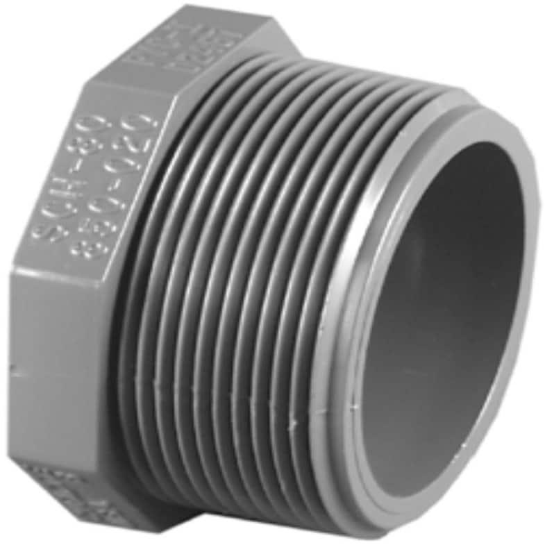 Charlotte Pipe & Foundry PVC081131800HA Schedule 80 PVC Threaded Plug, Gray