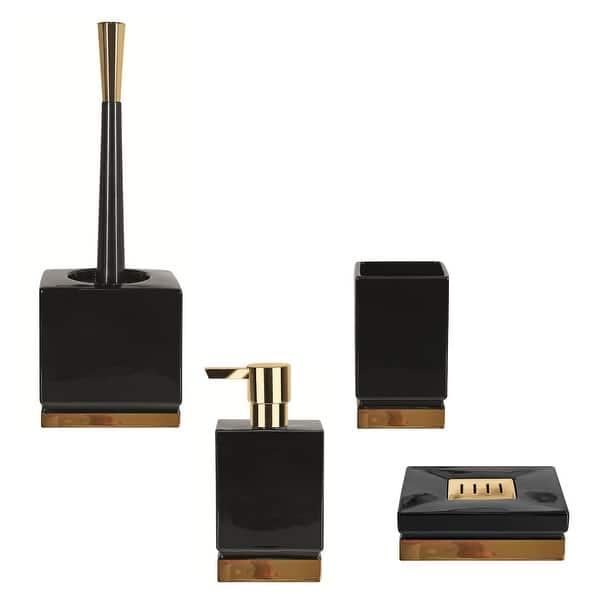 4 Piece Bathroom Accessories Set Spirella Roma Black And Gold Stoneware Black And Gold Overstock 31138114
