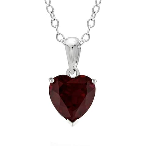 Heart-Shaped Birthstone Sterling Silver Pendant Necklace