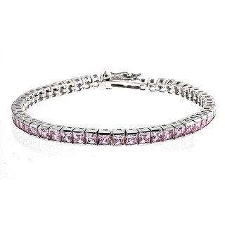 Bling Jewelry 925 Sterling Silver Pink Princess Cut CZ Tennis Bracelet 7in