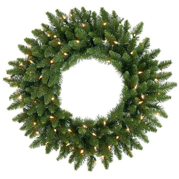 """48"""" Pre-Lit Camdon Fir Artificial Christmas Wreath - Clear Dura Lights - green"""
